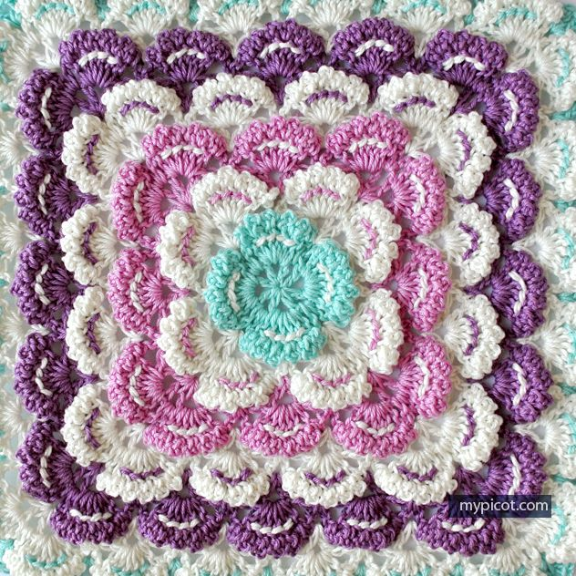 Crochet Patterns Squares : Crochet Square Motif - Free Crochet Pattern - (mypicot)