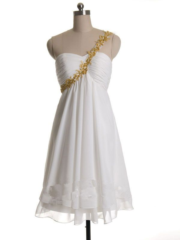 2015 Sleeveless Chiffon Appliques One Shoulder White Zipper Short Length Homecoming / Cocktail / Formal Dresses TBQP129