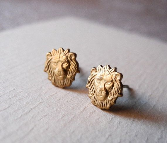 Leo Stud Earrings - Animal Earring Posts - Animal Jewelry - Zodiac Leo Jewelry - Lion Astrology Horoscope - Christmas Gift (E174)