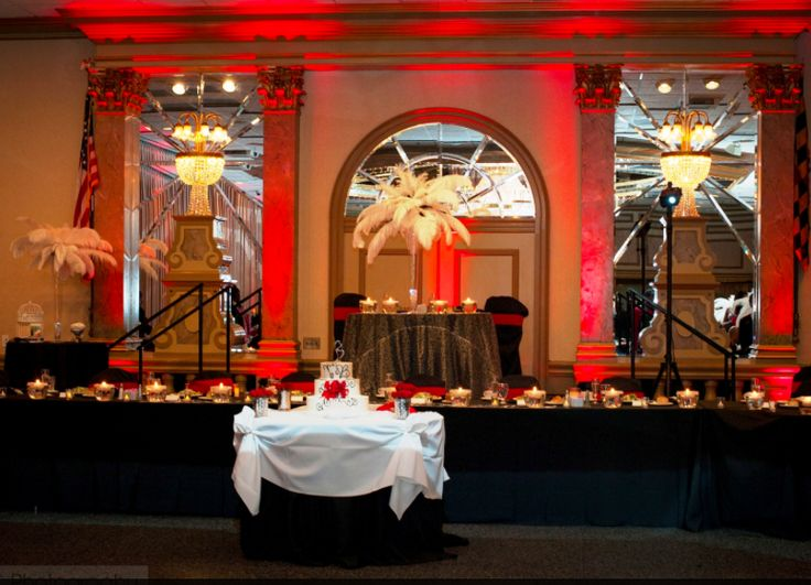 Old Hollywood Glam Sweetheart table with feathers and bling! Decor by Denean's Party by Design