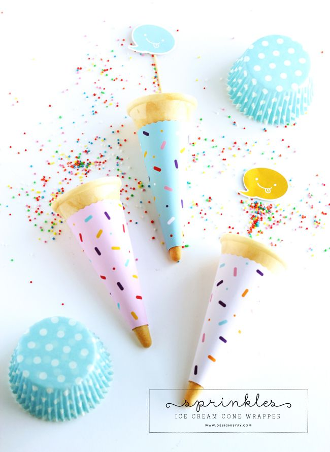 National Ice Cream Month Printable - Sprinkles Cone Wrapper | DESIGN IS YAY!