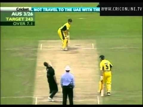 Shane Bond vs Australia Adelaide (2002) . 5 for 25 - what an amazing spell from the New Zealand fast bowler.