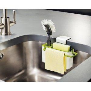 Le bac de rangement pour évier Sink Aid de Joseph Joseph  est idéal pour ranger vos brosses, liquide vaisselle, éponge et autres accessoires sur le bord de votre évier.