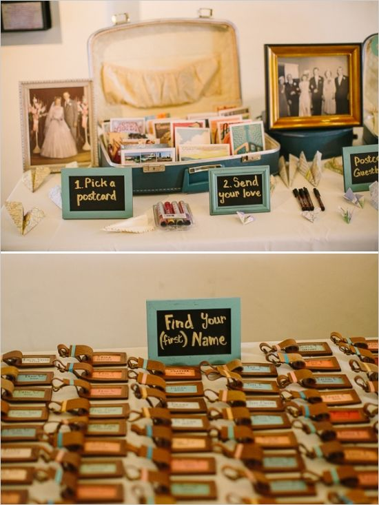 Vintage luggage tags make perfect escort cards!  Stick with a vintage travel theme and use postcards to create your guestbook!