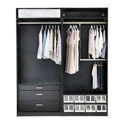PAX Wardrobe with interior organizers -- left half: clothes rail + chest of drawers [http://www.ikea.com/us/en/catalog/products/10207118/#/80207110]