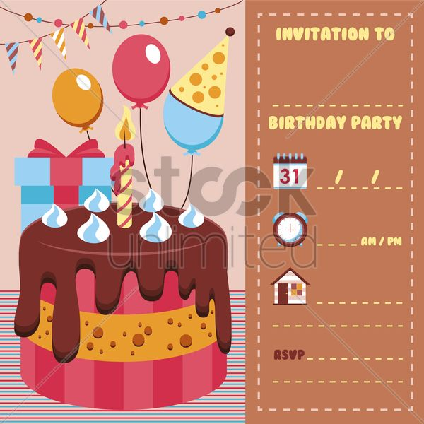 birthday invitation card vector graphic