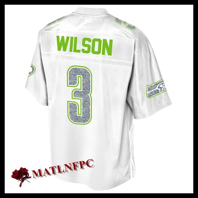 Maillot de NFL Seattle Seahawks pas cher, Maillots NFL Russell Wilson Seattle Seahawks Blanc Homme