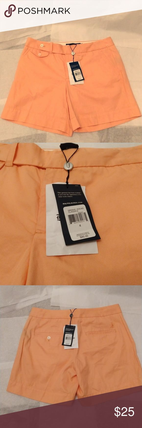 Ralph Lauren Golf Cotton Peach Shorts. New Comfortable Soft Cotton Shorts from Ralph Lauren, in a beautiful peach color. Ralph Lauren Shorts