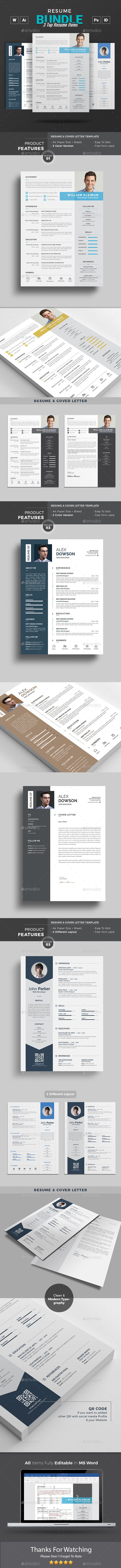 Resume Bundle #creative #resume clean  • Download here → https://graphicriver.net/item/resume-bundle/20659759?ref=pxcr