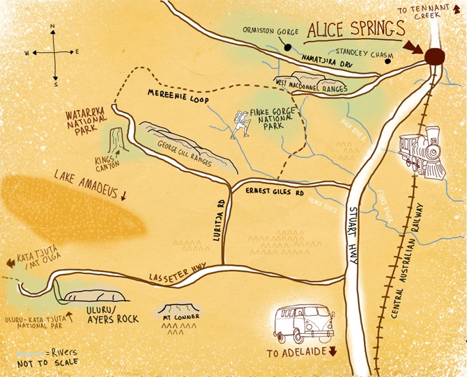 Ayers Rock to Alice Springs map by Adam Turnbull