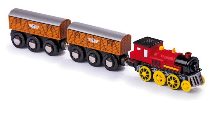 Krachtige locomotief, aangedreven door 1 AAA batterijen, trekt wagons door bochten, over bergen en door dalen! De elektrische locomotief maakt het spelen met de sporen nog rijker aan beleving! Met de bewegende magneethouder voor het trekken van aanhangwagens blijft de trein veilig in de sporen. Bij het drukken op de schoorsteen klinken verschillende geluiden.