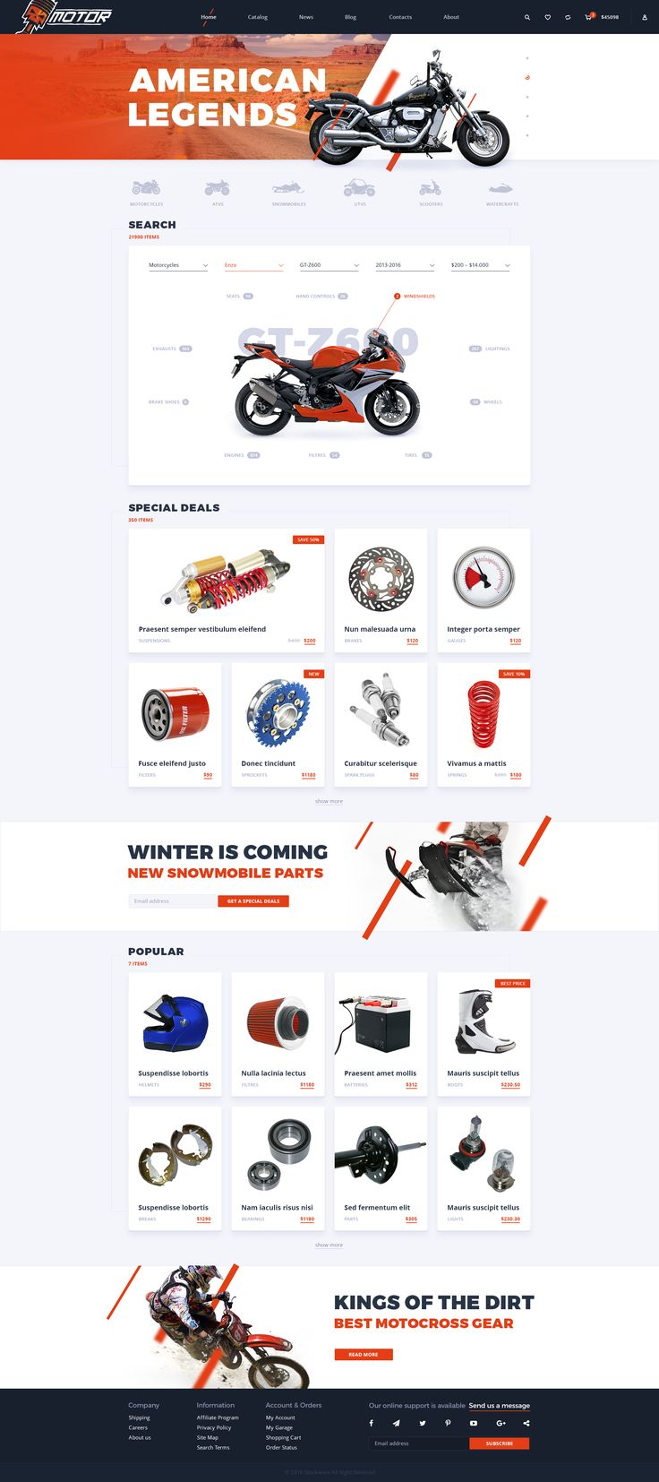 Motor - Motorcycle Parts Store PSD Template - PSD Templates