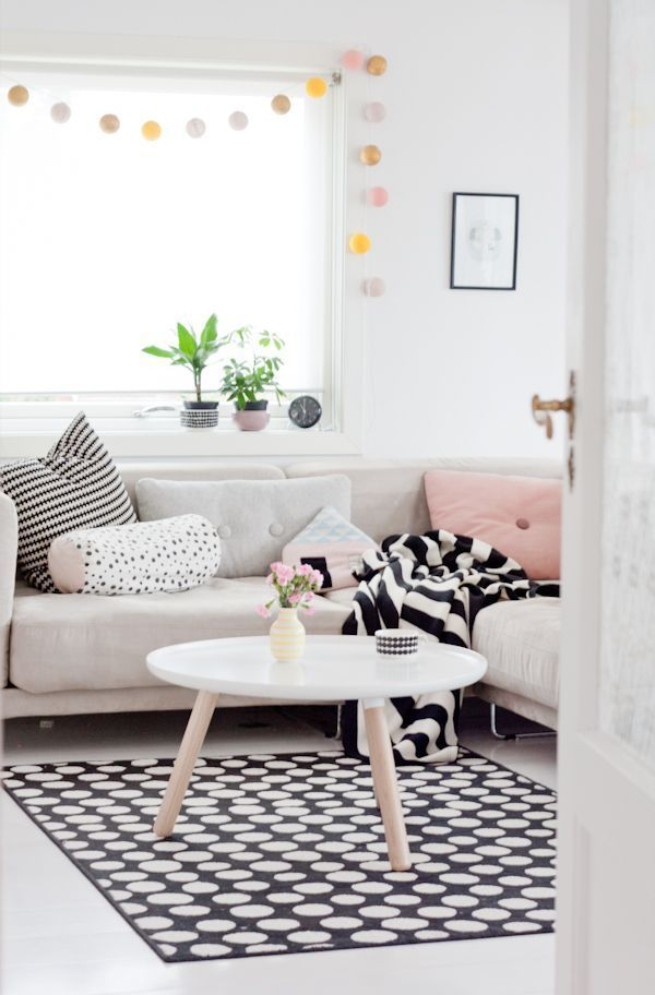 graphic black and whites mixed with soft pink pastels
