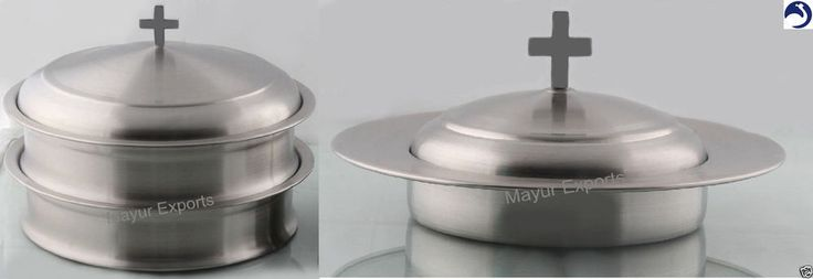 2 Holy Communion Tray set with Lid and 1 Bread Plate with Lid- Stainless Steel