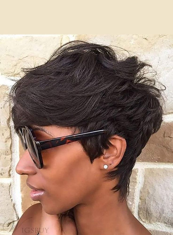 short haired styles cut pixie layered wave human hair with 7109 | d36195f4bfb167e0cc011e4e2957a259 pixie cut wigs african americans african american short hair cuts