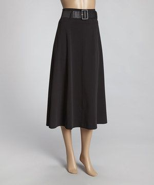 Another great find on #zulily! Larry Levine Black Belted Midi Skirt by  #zulilyfinds
