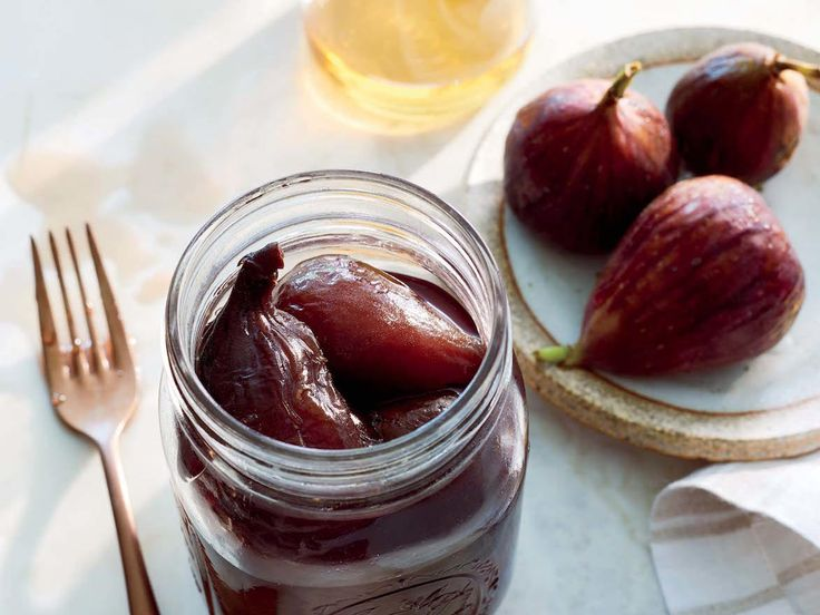 Brandied Preserved Figs | Great for preserving figs, which have a short growing season, this recipe will work with any fresh figs you have, such as Brown Turkey, Calimyrna, or Black Mission. Enjoy them as a simple dessert on their own, dressed up and served with ice cream or yogurt, or as a sweet salad topper. They could also be thinly sliced and served on toast as boozy spin on fig jam. Use the leftover syrup to sweeten cocktails or drizzle over fruit salad. Store canned figs in a cool, dry…