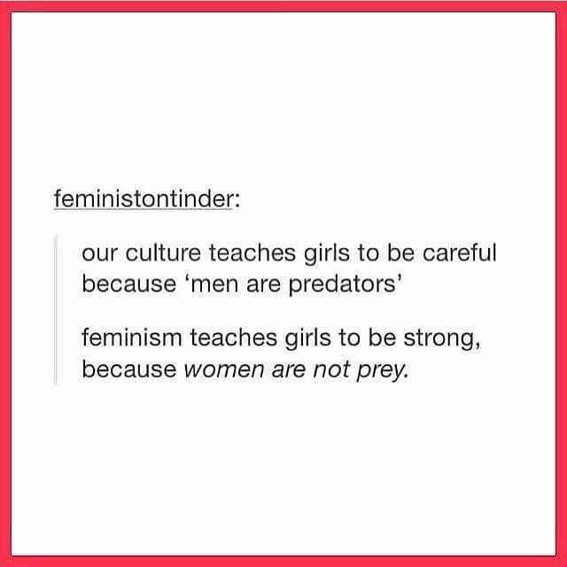 It also teaches men that they aren't naturally predators. Because even though it's called 'Feminism', it means gender equality. It doesn't just focus on females, even though that is the primary focus. It also focuses on males.