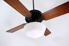 "1937-50c. Emerson 52"" Vintage Ceiling Fan, Standard Gloss Black Finish"