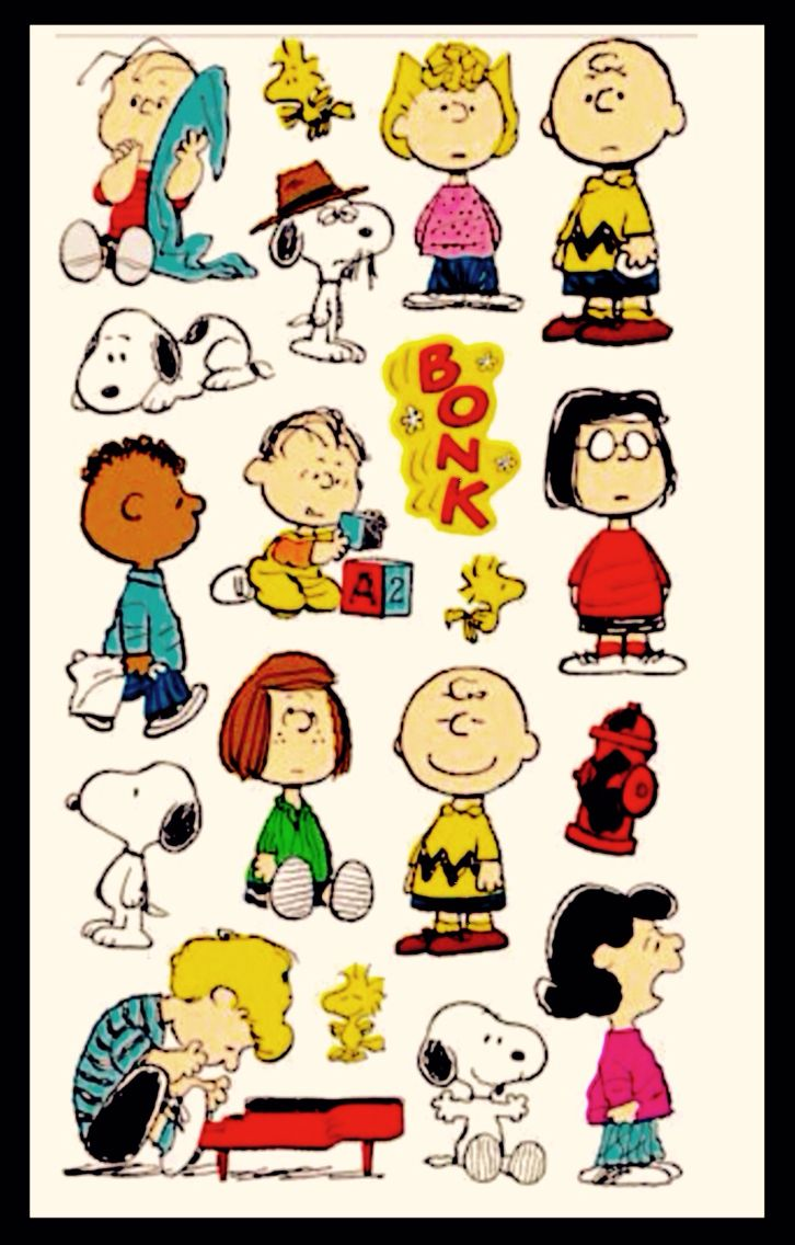 Charlie Brown, Snoopy and the cast of the Peanuts Gang, illustration, poster art.