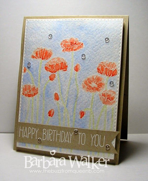 The Buzz: Happy Birthday To You card featuring Pleasant Poppies from #stampinup #gansaitambi watercolors and #prettypinkposh sequins Details on my blog. Click the pic!