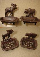 Cast Iron Lodge Bathroom Moose or Bear Soap Dish