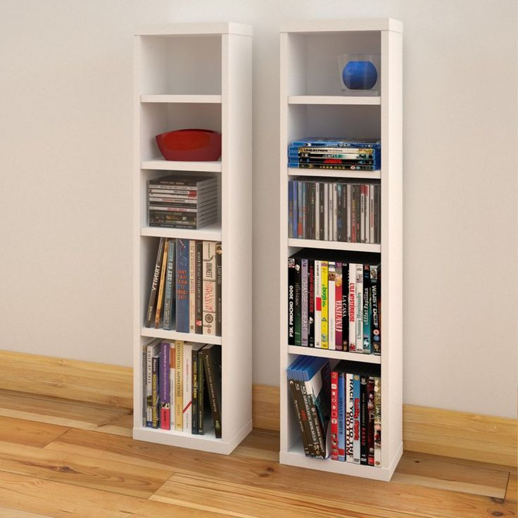 Nexera Liber T Set Of 2 CD/DVD Storage Towers   White   Each Engineered  Wood Tower Of The Nexera Liber T Set Of 2 CD/DVD Storage Towers   White  Gives You ...