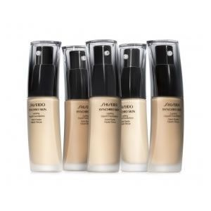 Shiseido Synchro Skin Lasting Liquid Foundation (snds recommendations, it's light/ liquidy and super covering)