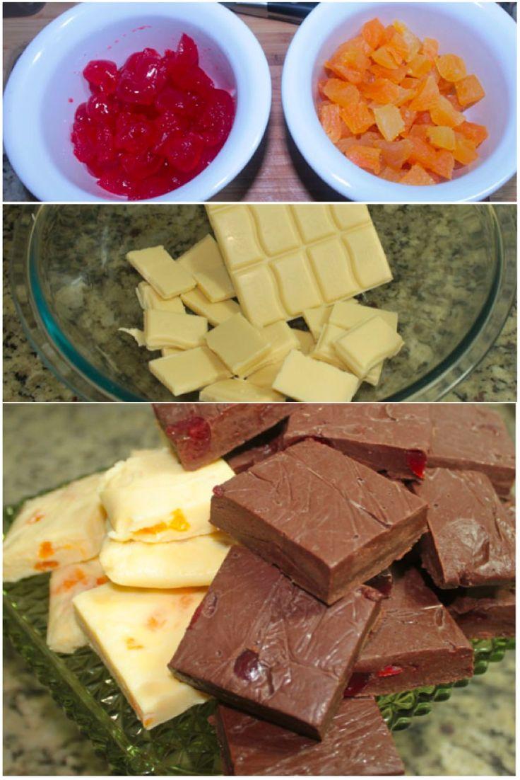 Fudge, crocantes e macios pedaços de chocolate com recheio de sua preferência ... damasco e crejas