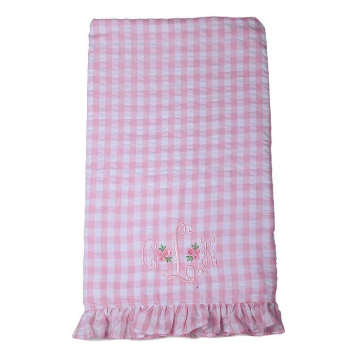 Pink Check Seersucker and Terry Towel