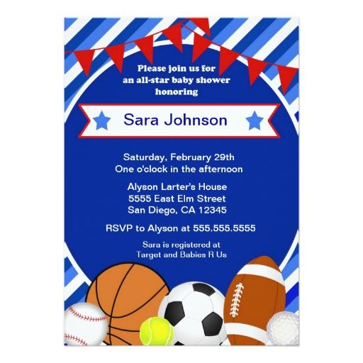 472 best Sports Baby Shower Invitations images on Pinterest Baby