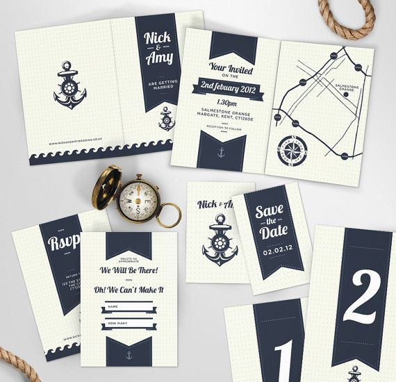 Preppy Sea Side Theme Wedding Invite and Stationery via Etsy
