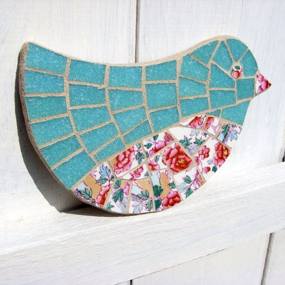 Mosaic Bird Wall Art Pink Flowers