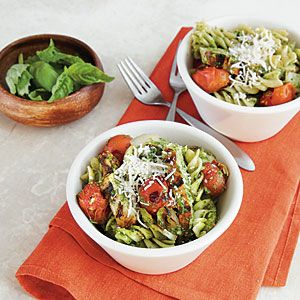 Pesto Pasta with Chicken and Tomatoes | MyRecipes.com #myplate #grain #protein #vegetable