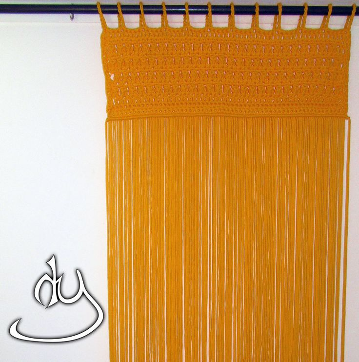 Macrame and Crochet Curtain with Yellow cord by HandyManiaDesigns on Etsy