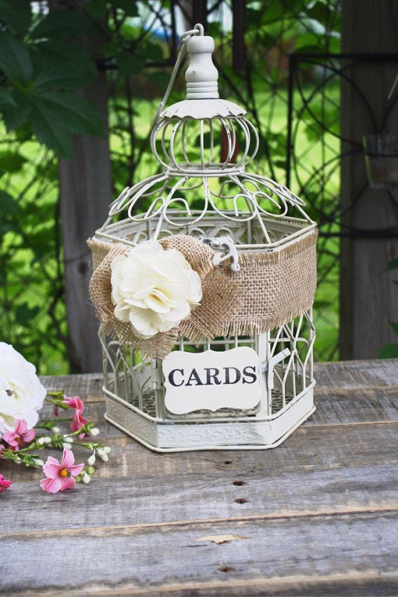 Wedding Birdcage, Rustic Wedding, Birdcage Card Holder, Small Bird Cage, Wishes/Advice/Love Notes/Cards, Baby Shower, Bridal Shower // BC03 on Etsy, $38.50
