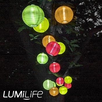 10 Multi Coloured LED Lantern Solar Lights - Outdoor Solar LED Lights - LED Garden Lights