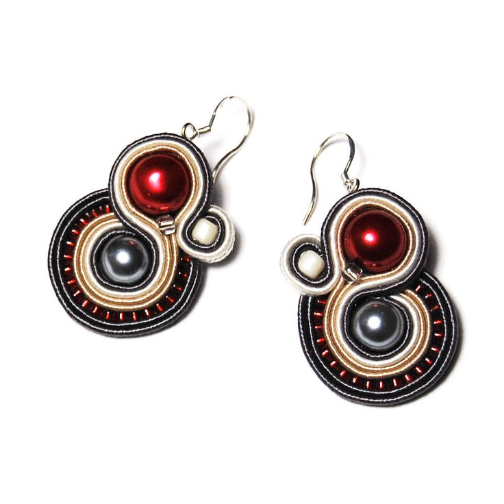 Soutache earrings handmade jewelry unique burgundy red gray beige ecru gift for sale to buy Ohrringe boucles d'oreilles Pendientes Orecchini by ForQueen on Etsy