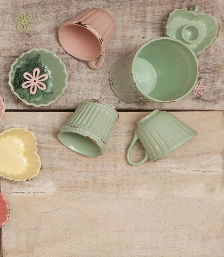 Mint Green Cups, Vases, Flower Pots - Spring Collection at Chic Ville - Available NOW