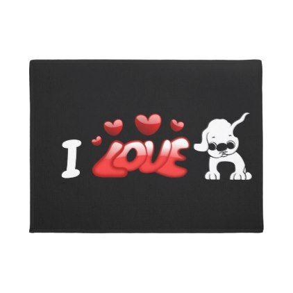 I Love Pugs Doormat - dog puppy dogs doggy pup hound love pet best friend