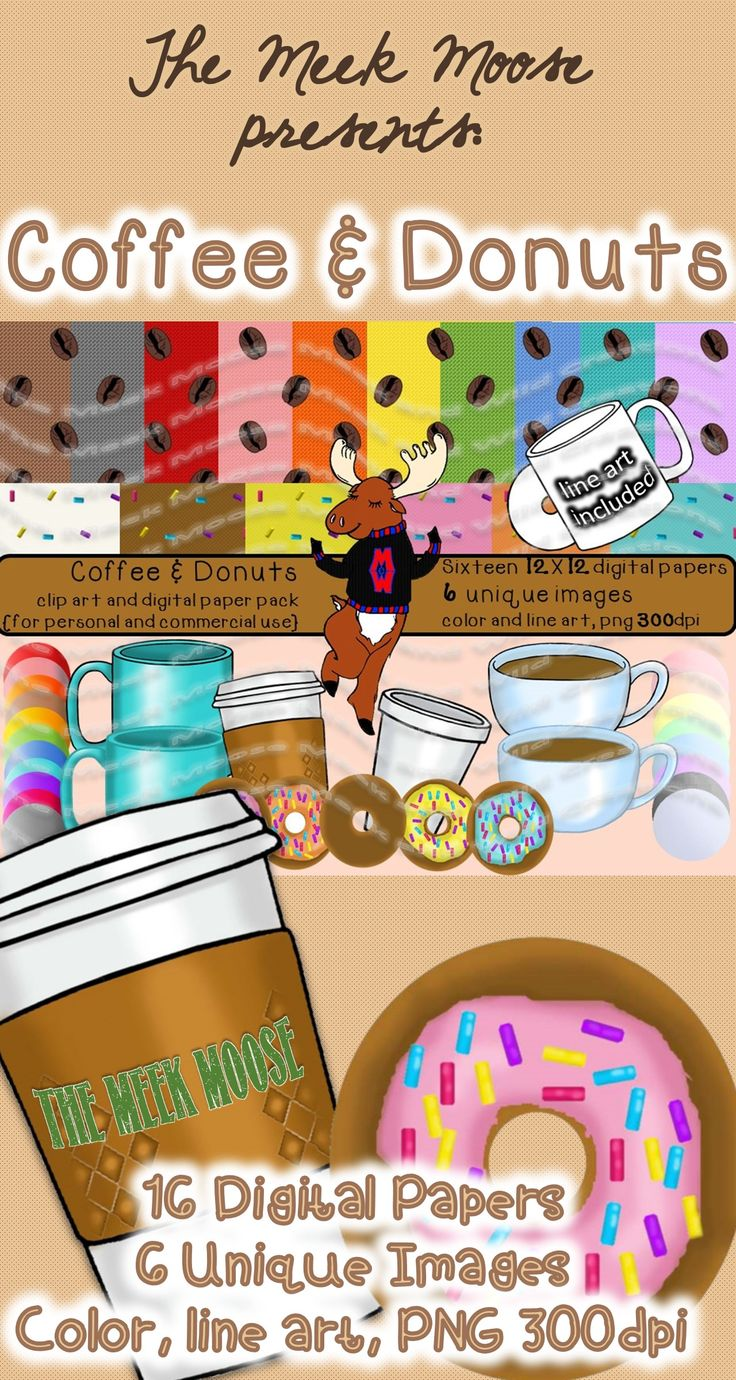 #clipart #coffee #donuts  Coffee and Donuts- the ultimate breakfast romance! *Swoon* This super bundle is great for creating parent communication notes, staff memos, even tags for teacher gifts!  Pour yourself a gallon of your best brew and grab a baker's dozen!