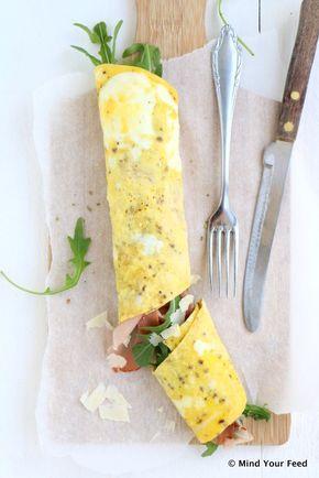 Italiaanse omelet wrap met Parmaham en rucola