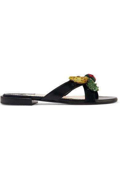 Altuzarra - Bisbee Embellished Leather Slides - Black - IT39.5