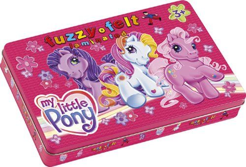 Toy Brokers Fuzzy Felt My Little Pony Tin  A classic tin that contains 2 Fuzzy-Felt boards silhouette felt shapes and your favourite laminated  http://www.comparestoreprices.co.uk/baby-gifts-and-toys/toy-brokers-fuzzy-felt-my-little-pony-tin.asp