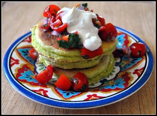 Cornmeal, Avocado, and Lime Pancakes  (I served them with sour cream, queso fresco, and a mixture of diced chicken, onions, bell pepper, and tomatoes)