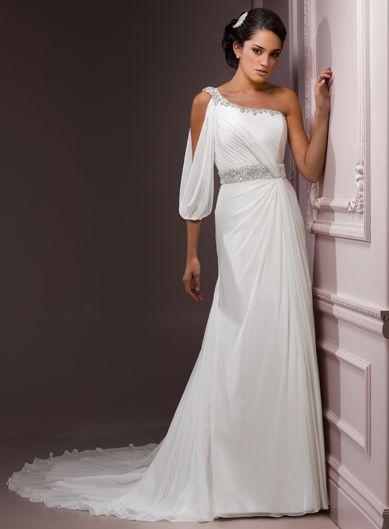 A-line Chiffon 3/4-Length Sleeve bridal gown: Sleeve Bridal, Dresses Wedding, Wedding Dressses, Chapel Wedding, Modest Wedding Dresses, Weddings, One Shoulder, Bridal Gowns, Chiffon