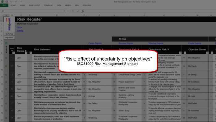 https://www.managenable.com/risk-template/topics/risk-register-tab-overview/  Risk management tab video training and assessment of various risks attached to any problems. To  know more about the risk management tab , visit the link given above.    #RiskRegister  #Iso31000 #ObjectiveAtRisk  #RiskAssessment #RiskCriteria