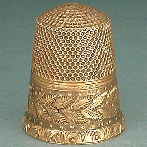 Outstanding Antique Engraved 14 KT Gold Thimble American Dated 1875