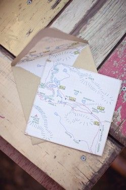 Camping Theme Trail Map Wedding Invitation