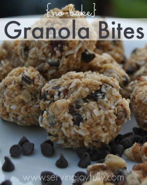No bake granola bites--A yummy treat and healthy, too!